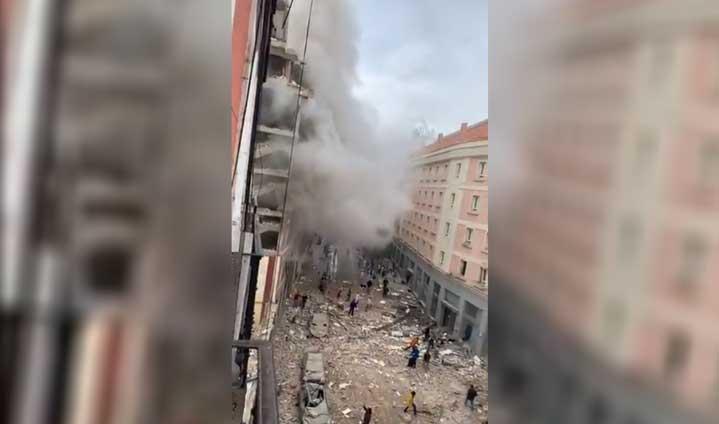 Мощен взрив в центъра на Мадрид (ВИДЕО)